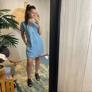 Holding Horses Chambray Embroidered Dress XS